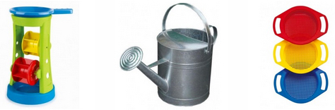 Sand Wheels, Sieves, Watering Cans and Funnels