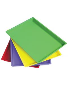 Coloured Flat Art Trays 4pcs