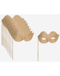 Papier Mache Eye Mask On Stick 10pcs