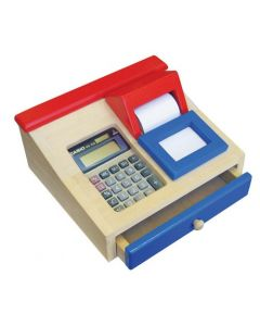 Wooden Cash Register with Real Calculator