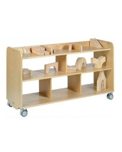Solid Birch Ply Long Open Shelving Unit With Dividers 140cmW x 45.5cmD x 80cmH