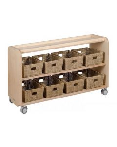 Solid Birch Ply Open Shelving Unit With 10 Seagrass Baskets 140cmW x 45.5cmD x 80cmH