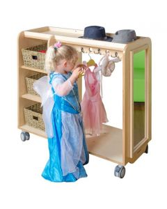 Solid Birch Ply Dress Up Trolley With Mirror & Storage