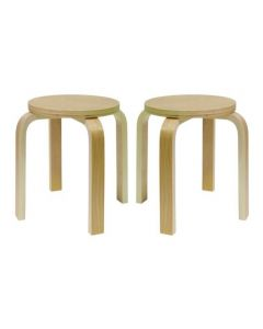 Two Solid Birch Plywood Stacking Stools 30cmH