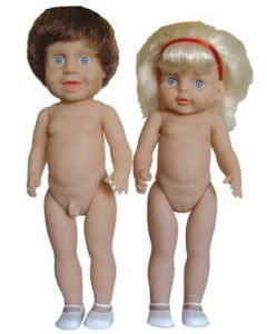 Large Twin Caucasian Dolls With Hair 46cmH