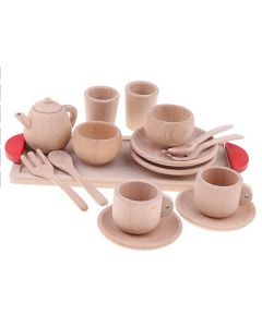 Natural Timber Tea and Coffee Set with Tray 17pcs