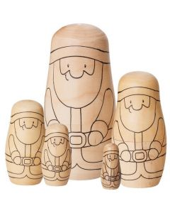 Wooden Babushka Santas 5pcs