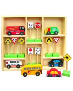 Emergency and Service Vehicles with Traffic Signs 16pcs