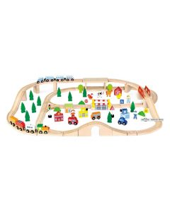 Large Train Set with Accessories 90pcs