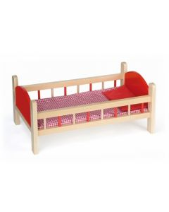 Wooden Doll's Bed with Bedding