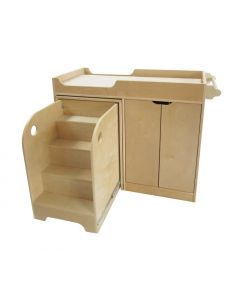 Baby Change Station and Storage Complete With Sliding Stair Unit and Mat