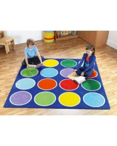 Rainbow Circles Carpet 2m x2m