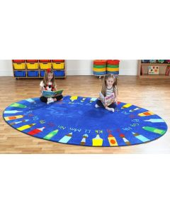 Oval Alphabet Pencils Carpet 2m x 3m
