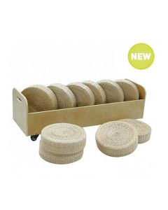 Ten Seagrass Cushions and Cushion Trolley