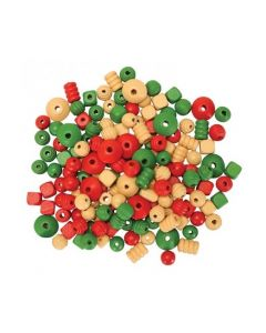 Red, Green & Natural Wooden Beads 200g