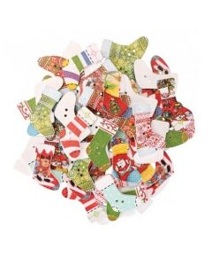 Wooden Christmas Stocking Shape Buttons 50g