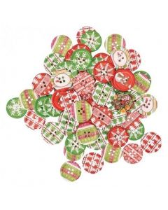 Christmas Printed Buttons 100g