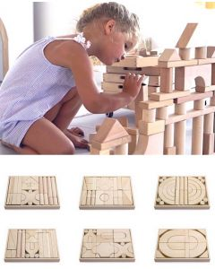 Solid Beech Timber Architecture Blocks 6 Trays 158pcs