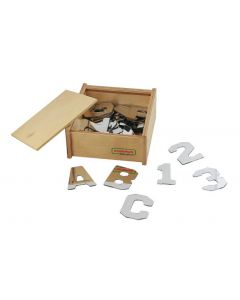 Double-Sided Acrylic Alphabet and Number Mirrors in Wooden Box 19pcs