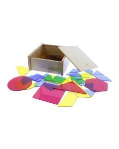 Translucent Geo Shapes in Wooden Box 51pcs