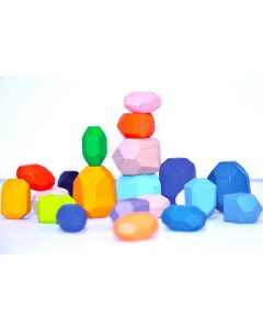 Stacking Wooden Facet Stones 21pcs