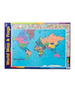 World Map & Flags Double-Sided Chart