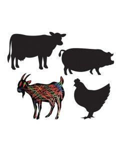 Scratch Art Farm Animals 40pcs