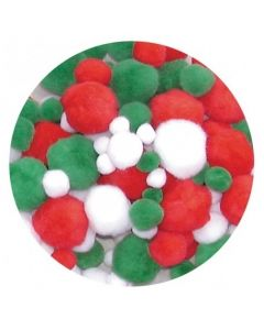 Christmas Colour Pom Poms 150pcs