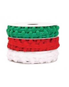 Red, White & Green Pom Pom String 2m