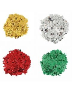 Glitter Stars Gold, Silver, Red and Green 100g