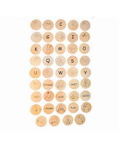 Sign Language Wooden Discs 44pcs