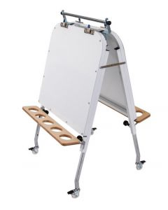 Adjustable Height Metal Double Sided Easel With Magnetic Whiteboards 60cmW x 60cmD x 72cm - 105cmH