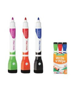 Double Ended Bullet Tip Whiteboard Markers with Erasers 3pcs