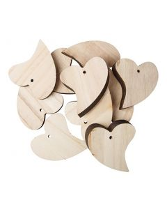 Wooden Hearts 12pcs