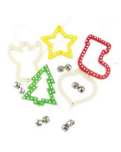 Wooden Christmas Shapes with Hanger Bells 5pcs