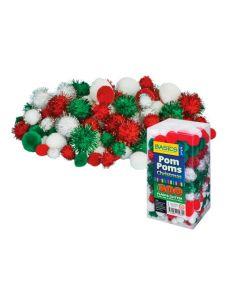 Pom Poms Christmas Colours Glitter and Plain 300pcs