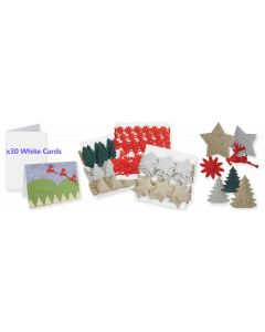 Adhesive Christmas Decos and 30 Square White Cards with Envelopes