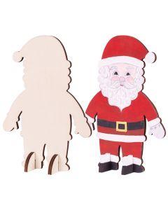 Wooden Standing Santas 10pcs
