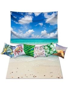 Beach Dramatic Play Scene: Carpet Complete: Backdrop and 6 Cushion Covers With Inserts