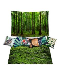 Forest Dramatic Play Scene Complete: Carpet, Backdrop and 6 Cushion Covers With Inserts