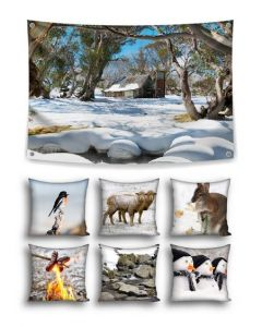 Snowy Winter Themed Backdrop and 6 Cushion Covers With Inserts