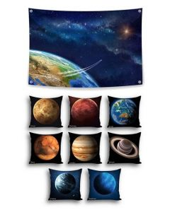 Into Orbit Themed Backdrop and 8 Planet Cushion Covers With Inserts