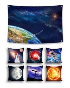 Into Orbit Themed Backdrop and 6 Space Cushion Covers With Inserts