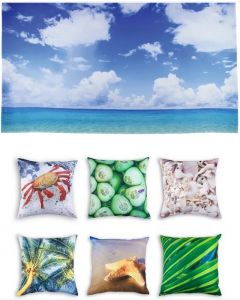 Beach Themed Backdrop and 6 Cushion Covers With Inserts