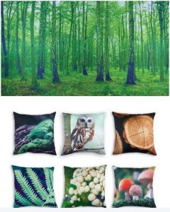 Forest Themed Backdrop and 6 Cushion Covers With Inserts