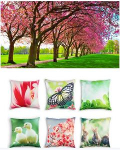 Springtime Themed Backdrop and 6 Cushion Covers With Inserts
