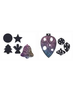 Scratch Art Baubles 30pcs and Christmas Shapes 30pcs with 60 Wooden Scratch Tools