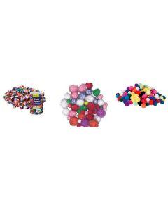 Bulk Pom Poms Multicolour, Rainbow & Glitter Pack 800pcs