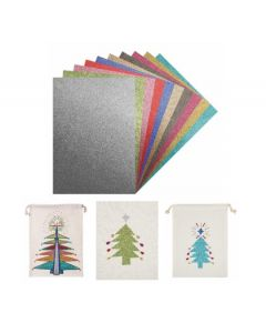 Iron-On Glitter Sheets 10 x A4 With 10 Calico Drawstring Bags