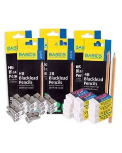 Blacklead Pencils, Sharpeners and Erasers Kit 228pcs